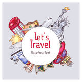 Travel and tourism template. London red telephone box, Statue of Liberty, the Eiffel Tower. Watercolor illustration Stock Images