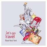 Travel and tourism template. London red telephone box, Statue of Liberty, the Eiffel Tower. Watercolor illustration Stock Photo