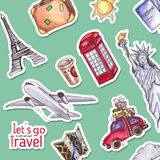 Travel and tourism template. London red telephone box, Statue of Liberty, the Eiffel Tower. Watercolor illustration Stock Photography