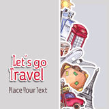 Travel and tourism template. London red telephone box, Statue of Liberty, the Eiffel Tower. Watercolor illustration Royalty Free Stock Photography