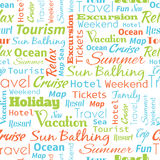 Travel or tourism text word  seamless pattern, metaphor to vacat Stock Photos