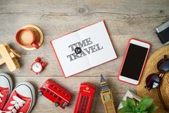 Travel and tourism to London, Great Britain background with note bokk and souvenirs on wooden table stock images