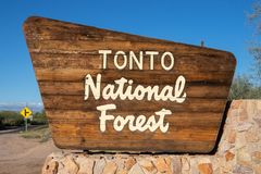 Travel tourism Tonto National Park sign in AZ stock images