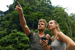 Travel And Tourism. Tourist Couple Adventure On Summer Vacation Royalty Free Stock Photography