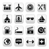 Travel tourism and transport  buttons set. Holidays, location modern grey square isolated on white Royalty Free Stock Photos