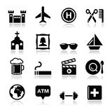 Travel tourism and transport icons set -. Holidays, location modern black icons set with reflection isolated on white Royalty Free Stock Photos