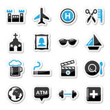 Travel tourism and transport icons set -. Holidays, location modern black and blue labels  on white Royalty Free Stock Images