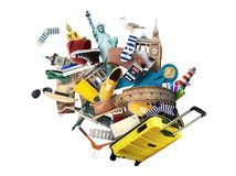 Travel and tourism. World landmarks and suitcase Stock Images