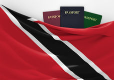 Travel and tourism in Trinidad and Tobago, with assorted passports Stock Photo