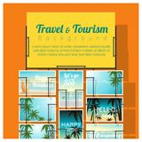 Travel and tourism , tropical sea postcards displayed on colorful background Stock Photography