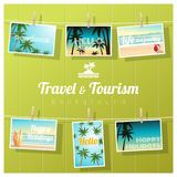 Travel and tourism , tropical sea postcards displayed on colorful background Stock Images