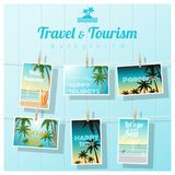 Travel and tourism , tropical sea postcards displayed on colorful background Royalty Free Stock Photos