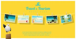 Travel and tourism , tropical sea postcards displayed on colorful background Stock Image