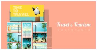 Travel and tourism , tropical sea postcards displayed on colorful background Stock Photos
