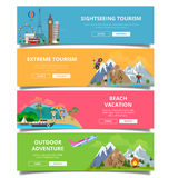 Travel tourism type banner flat style vector set. Vacation landmark monument collage. Sightseeing extreme beach outdoor adventure stock images