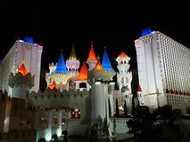 Exterior view of the Excalibur Hotel in the city of Las Vegas, Nevada at night. Travel and tourism in the United States of America, style and design in royalty free stock photography