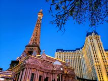 Exterior view of the Paris Hotel in the city of Las Vegas, Nevada at night. Travel and tourism in the United States of America, style and design in construction royalty free stock photos