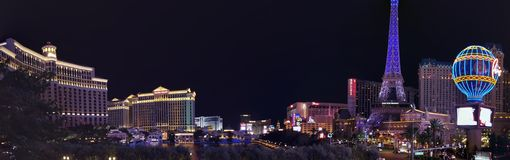 Panoramic view of the tourist area on the main avenue of the city of Las Vegas, Nevada at night. Travel and tourism in the United States of America, style and royalty free stock image