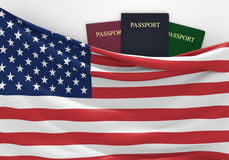 Travel and tourism in the United States, with assorted passports Royalty Free Stock Image