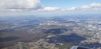 aerial view of the city of Orlando, from a plane window stock photos