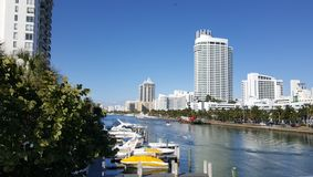 Tropical landscape of Miami tourist coast in a sunny day. Travel and tourism in United States, nature and ocean, blue water and waves, blue sky, buildings in a stock photography