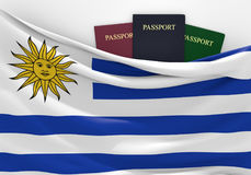 Travel and tourism in Uruguay, with assorted passports Stock Images