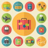Travel, tourism and vacation icons set, flat Stock Photography