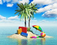 Travel, tourism and vacations concept. Travel cases luggage, umbrella. beach ball and lifebelt on lonely island with green palm trees in tropical sea water Stock Photography