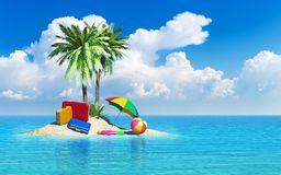 Travel, tourism and vacations concept. Travel cases luggage, umbrella. beach ball and lifebelt on lonely island with green palm trees in tropical azure sea Royalty Free Stock Photos