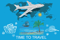 Travel, tourism and vacations concept, sketch, vector illustration Stock Photography