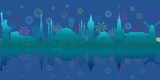 Travel and tourism. Vector background with World Architectural Sights and fireworks. royalty free illustration