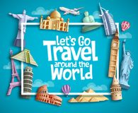Travel and tourism vector banner design with boarder frame, travel text and famous landmarks and tourist destination elements. In blue background. Vector royalty free illustration