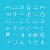 Travel, tourism and weather icons, set 1. Vector set of modern inline thin icons of travel and tourism metaphors, set 1 Royalty Free Stock Photography