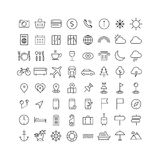 Travel, tourism and weather icons Stock Photo