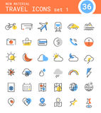 Travel, tourism and weather linear icons, set 1 Royalty Free Stock Images