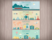 Travel and Tourism web banners. Concept website template. Vector. Stock Photography