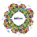 Travel and tourism welcome card Stock Image
