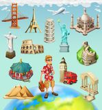 Travel, tourist attraction. 3d vector icon set. On background royalty free illustration