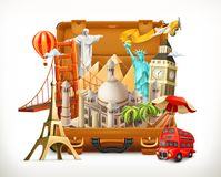 Travel, tourist attraction in suitcase, 3d vector Stock Photos