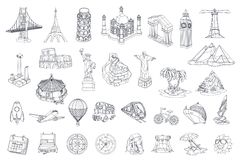Travel, tourist attraction. vector icon set Royalty Free Stock Photo