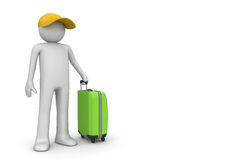 Travel - Tourist in cap with green suitcase Stock Image