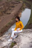 Travel Tourist Happy Woman. Travel and wanderlust concept Amazing atmospheric moment. happy woman traveling. Attractive woman rela stock images