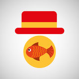Travel tourist hat concept fish icon. Vector illustration eps 10 Royalty Free Stock Images