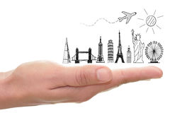 Travel tourist landmarks skyline sketch. Sketch of famous landmarks including the statue of liberty and tower of pisa over a hand Royalty Free Stock Photos