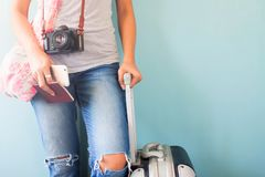 Travel tourist standing with suitcase holding passport and smart. Phone, Summer vacation concept stock images
