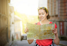 Travel tourist woman with  map Stock Images
