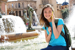 Travel tourist woman talking on smartphone. And smiling in Valencia, Spain. Travel and tourism concept Royalty Free Stock Photography