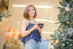 The Travel tourist woman on vacation,And taking pictures from th stock photography