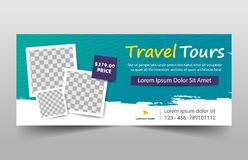 Travel tours corporate banner template, horizontal advertising business banner layout template flat design set. Travel tours corporate banner template stock illustration