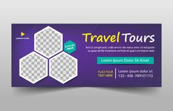Travel tours corporate banner template, horizontal advertising business banner layout template flat design set Royalty Free Stock Image